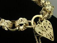 B028 - DESIGNER Genuine 9ct Solid Gold Blossom BELCHER Padlock Bracelet
