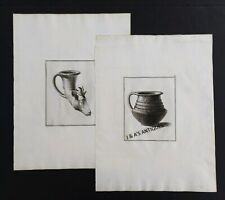 2 Vintage Pencil Engravings ~ Unknown Artist Bowl & Goat Head Vase