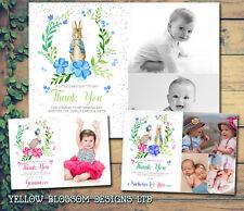 10 Personalised Christening Baptism Peter Rabbit Birthday Photo Thank You Cards