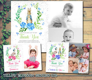 10 Personalised Christening Baptism Duck Rabbit Birthday Photo Thank You Cards