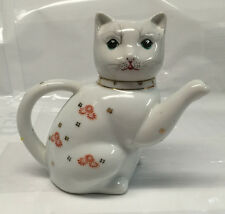 "Tabby Cat Kitten Porcelain Teapot Pitcher Creamer 6-1/2"" White & Orange Flowers"