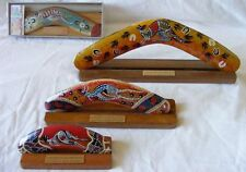 "Boxed Boomerang - Aboriginal Art Modern Hand-Painted 14"" with Display Stand"