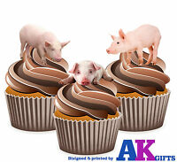 PRECUT Farm Animals Pig Birthday Party 12 Edible Cupcake Toppers Decorations
