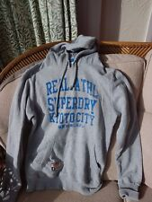Superdry Sportswear Hoodie Hoody Size L Grey With Blue Writing
