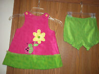 PIcture Me Girls Size 4T Pink Green Lady Bug Floral Dress Bloomers