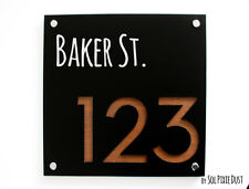 Modern House Numbers,Square Black & Marine Plywood - Sign Plaque -Door Number