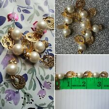 NEW Ivory pearl buttons with gold round oval  leave hanging. Very unique pearls!