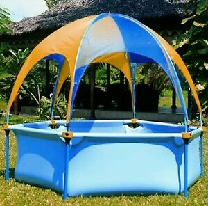 Wading Pool with Sun Shade Cover | Jet Water Spray | Galvanised Metal Frame