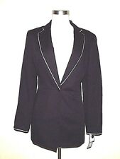 Kasper NWT $250 Black Blazer Jacket Coloniale White Trim 8