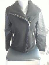 ✿ Vetement femme : Manteau veste bi matière noir taille 36 S