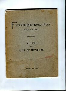 Fettesian Lorettonian Club1905 Records Rules List of Members