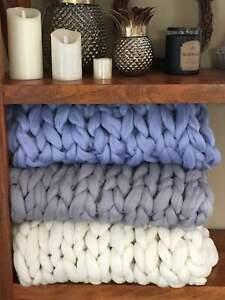 "Chunky Knit Blanketl 40"" x 60"" Throw Twin Merino Blanket Giant Knit, Chunky Wool"