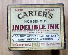 Carter's Indelible Ink Box w Contents. Vintage Advertising