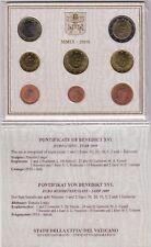 2009 Vaticano Set Divisionale Euro Completa 8 Monete Papa Benedetto XVI FDC UNC