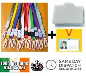 Soft Neck Lanyard Strap + ID Card Badge Holder School Office Keychain Lanyards
