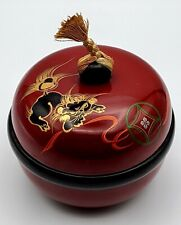 Vtg Asian Hand-painted Gold Foo Dog Red Lacquerware Jewelry Trinket Box -
