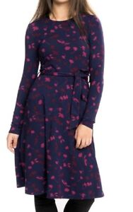 New Ex Joules Monica Navy Berry Print Jersey Belted Dress Size 10