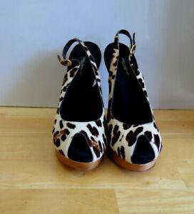 NEW Stylish Leather Animal Print Sling Back Heel from Dolce & Gabbana -Size 37.5