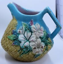 VINTAGE MAJOLICA PITCHER TOURQOISE BASKETWEAVE  & FLOWERS