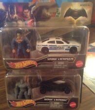 HOT WHEELS 1:64 BATMAN V SUPERMAN - Batman & Superman CARS & FIGURES
