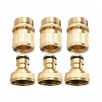 3 Sets Garden Hose Quick Connector 3/4- Inch GHT Brass Easy Connect Fitting