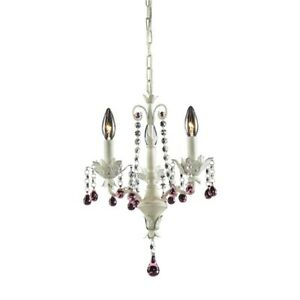 "ELK Lighting Elise 3-Light 18"" Chandelier, Antique White/Crystal - 4040-3"