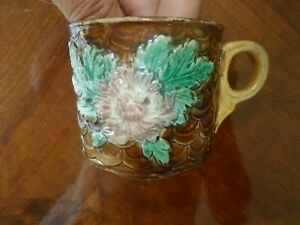 """Antique Majolica Art Pottery Handled Cup Mug Floral Flower 3 1/4"""" Tall"""