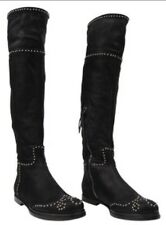 Miu Miu By Prada Fabulous Knee High Studded Leather Biker Boots 8 41