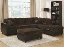 Chocolate Brown Velvet Sectional Sofa w/ Reversible Chaise Lounge & Pillows