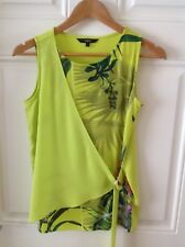 NEXT Tropical Floral Vibrant Print Lime Green Yellow Buckle Wrap Top Size 6