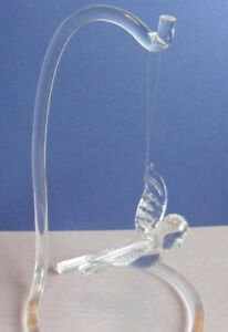 "Hanging clear glass soaring flying 3.5"" Bird ornament with 6"" acrylic stand"