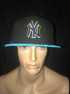 New Era NY New York Yankee's Aqua Retro 8 Snapback Hat Cap