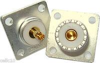 Lot of 2 Silver Teflon Gold SO-239 Coax Connectors HAM CB RADIO - High Quality