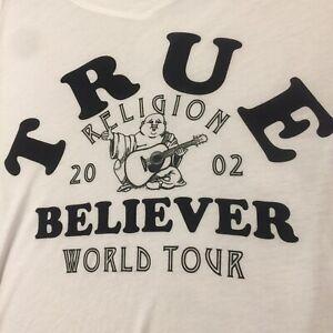 True Religion Believer World Tour Rounded V Neck T-Shirt SML Shiny Buddha