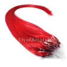 50 Micro Loop Ring Beads I Tip Indian Remy Human Hair Extensions Hot Red 0.8g