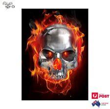 Skull In Fire Flames Car Truck Sticker 14cm x 10.2cm Decal