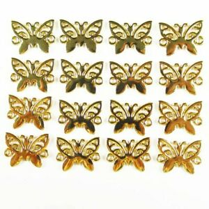 20Pcs 12g Carved Tibet Gold Butterfly Connector Pendant Bead 15x12x1mm S-1346PJ