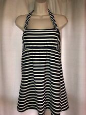 30efd01e23 NWOT LANDS END Womens Halter navy/white Dresskini Swimsuit Top sz 8P 8  Petite