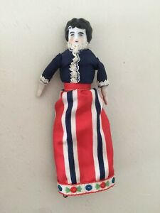 """Antique German China Shoulder Head Arms Legs 7¼"""" Dollhouse Doll Low Brow"""