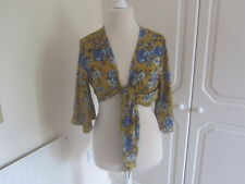 BNWT 2018 TOPSHOP MUSTARD & BLUE SATIN FLORAL TIE FRONT BLOUSE SIZE 16 RRP 29.00