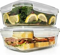 6.5 Cups/ 52 Oz 4 Piece (2 Containers + 2 Lids) Large Glass Food Storage $42.99