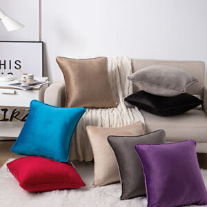 """New Plain Luxury French Velvet Cushion Cover/Filled Cushions Piped Edges 18""""/24"""""""