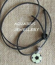 FOOTBALL PENDANT NECKLACE ON BLACK SUEDE CORD {FREE GIFT BOX}