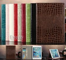 Folio Crocodile Wallet PU Leather Smart Auto Sleep Wake Case Cover For iPad