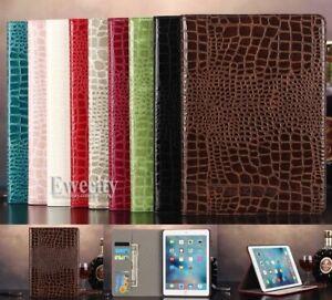 Folio Crocodile Wallet PU Leather Smart Auto Sleep Wake Case Cover For iPad
