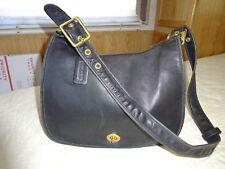 Vintage Coach Black Leather Legacy Flap Shoulder Bag Purse Handbag Turnlock 9718