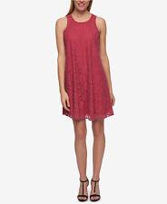 $99 Tommy Hilfiger Lace Floral Shift Dress Raspberry Size 8