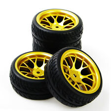 4X 62mm Racing Rubber Tire Rims For HSP HPI RC 1:10 Flat On Road Car DHG+PP0150
