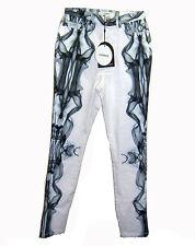 NEW CAMEO Skinny Jean NWT sz L White Gray Smoke Print