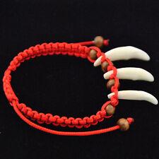 Cool wolf teeth wood beads Red rope Bracelet adjustable
